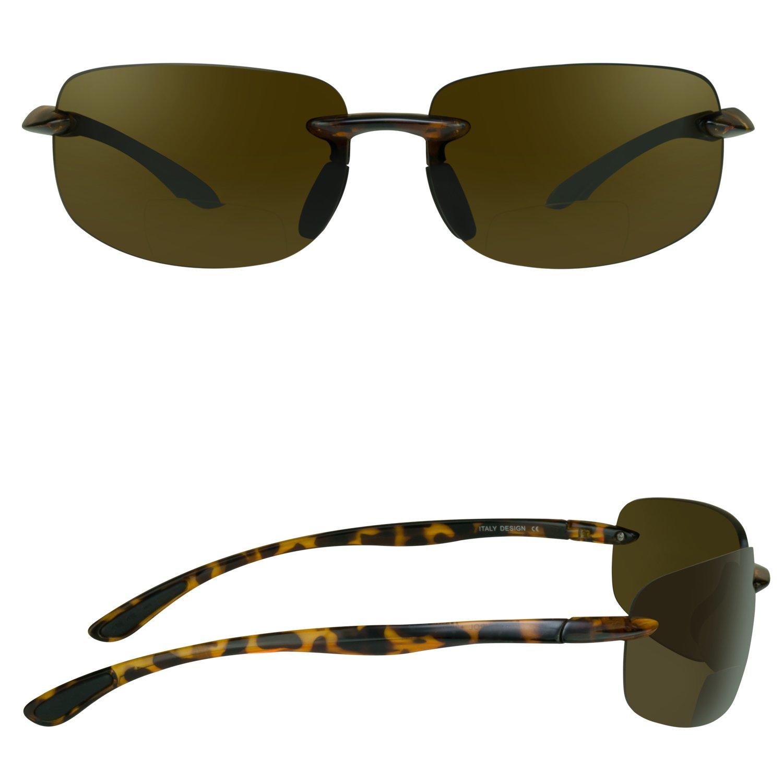 Sin de montura anteojos de sol bifocales con lentes anteojos de ...