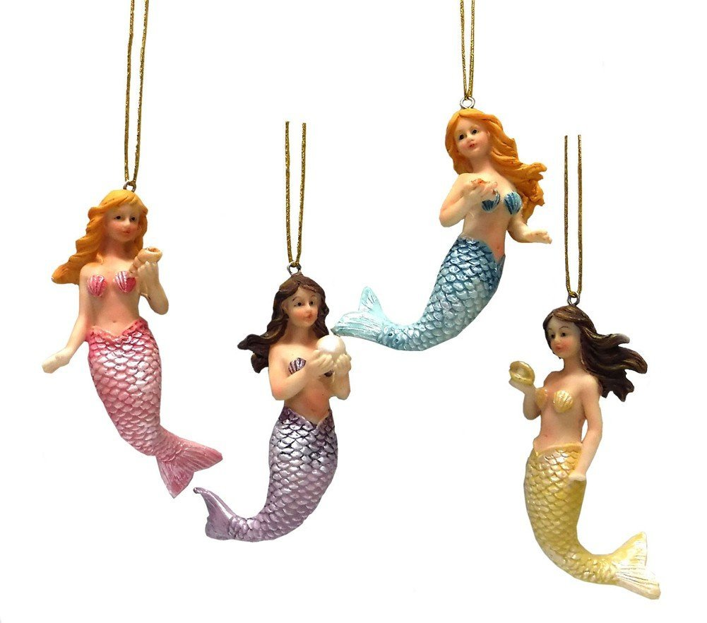 Set of 4 Nautical Resin Mermaid Ornaments