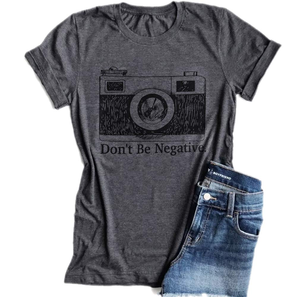 KimSoong Don't Be Negative Camera Shirt Funny Vintage Photographer Short Sleeve T-Shirt (Small)