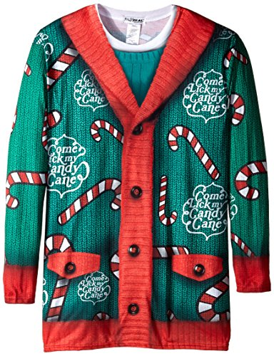 Faux Real Men's Big-Tall Lick My Candy Cane Long Sleeve T-Shirt, Multi, 4X-Large/Big (Candy Cane Outfit)
