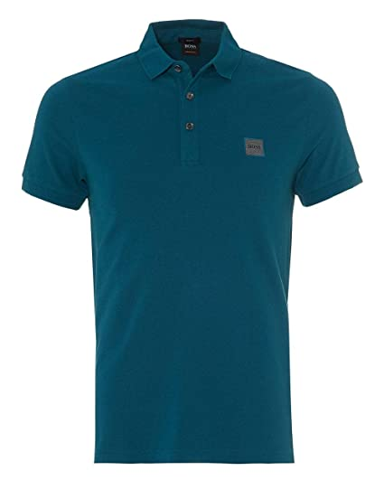 8a6ef27b9 BOSS Casual Mens Passenger Polo Shirt, Teal Blue Polo: Amazon.co.uk ...
