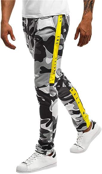 YanHoo Pantalones de chándal Sueltos Ocasionales de la Aptitud del ...