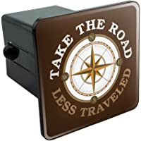 """Graphics and More Take The Road Less Traveled Compass Tow Trailer Hitch Cover Plug Insert 2"""""""