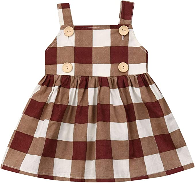 Vestido de niña Sin Mangas Marrón Plaid con Button Backless ...