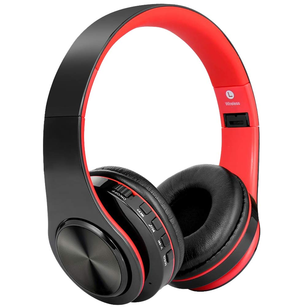 Bluetooth Headphones,Teetox Over Ear Hi-Fi Stereo Wireless/Wired Headset,Foldable,CVC 6.0 Noise Cancelling Mic,Compatible with Smartphones, Tablets, PC,iPods, iPhones, iPads, Laptops (Black&Red)