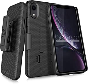 BELTRON Case with Belt Clip for iPhone XR, Slim Protective Belt Clip Slider Case (Shell/Holster Combo) with Built-in Kickstand - (Black)