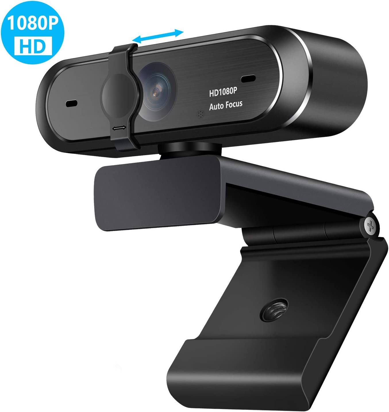 Webcam with Microphone(30fps),ELLASSAY Full HD 1080P Plug & Play Webcam,with Built-in Dual Microphone, 90°Wide-Angle View, Auto Focus for Online Class Computer Widescreen Video Calling and Recording