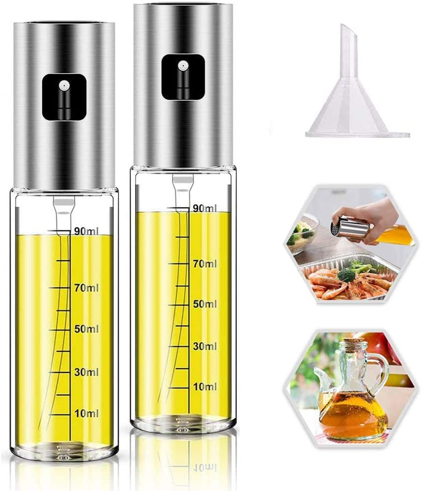 Olive Oil Sprayer, 2 Pack 100mlOil Spray for Cooking, Spray Bottle Olive Oil Sparyer Mister for Cooking, BBQ, Salad, Baking, Roasting, Grilling