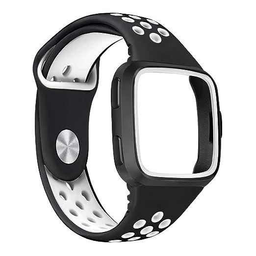 para Fitbit Versa Reloj Pulsera de reemplazo Correa de Silicona Suave Deporte Correa + Marco Deportes Pulsera de Silicona Correa Banda: Amazon.es: Relojes