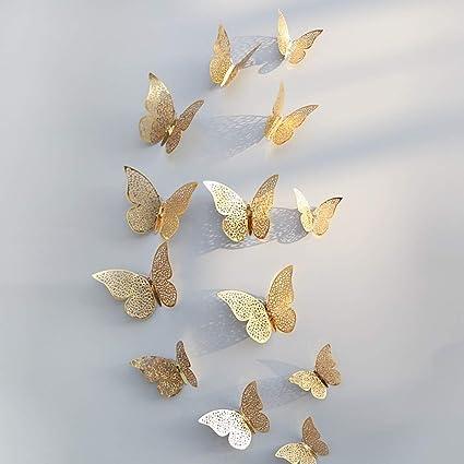 Etiqueta de la pared de BaZhaHei, 12 piezas 3D hueco pegatinas de pared nevera de mariposa para la decoración del hogar nuevo del Etiqueta de la pared ...