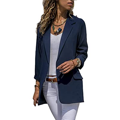 Asskdan Women's Open Front Long Sleeve Work Office Blazer Jacket Cardigan Casual Basic OL Leopard Blazer Suit at Women's Clothing store