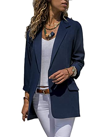 16424b233e Asskdan Women s Ladies Open Front Long Sleeve Work Office Blazer Jacket  Cardigan Casual Basic OL Blazer Suit (Navy Blue