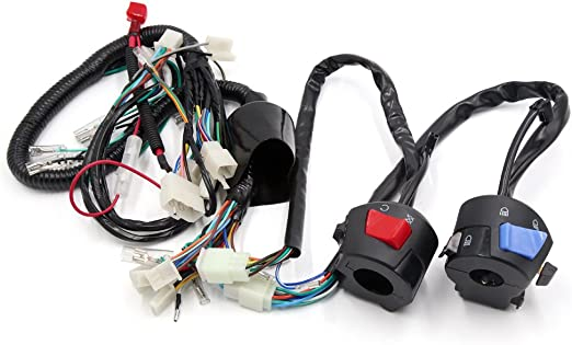 uxcell Motorcycle Electrical Main Wire Harness w Right Left Handlebar Switch Kit for CB125