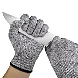 Denzar Cut Resistant Gloves - Kitchen Working for Cutting, Slicing and Wood Carving,Food Grade High Performance Level 5 Protection, 1 Pair (Black, XL)