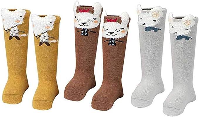 0-24 meses Danolt 3 pares de calcetines de algod/ón para beb/és Calcetines hasta la rodilla de dibujos animados lindos Calcetines transpirables antideslizantes Regalo para beb/és y ni/ños peque/ños