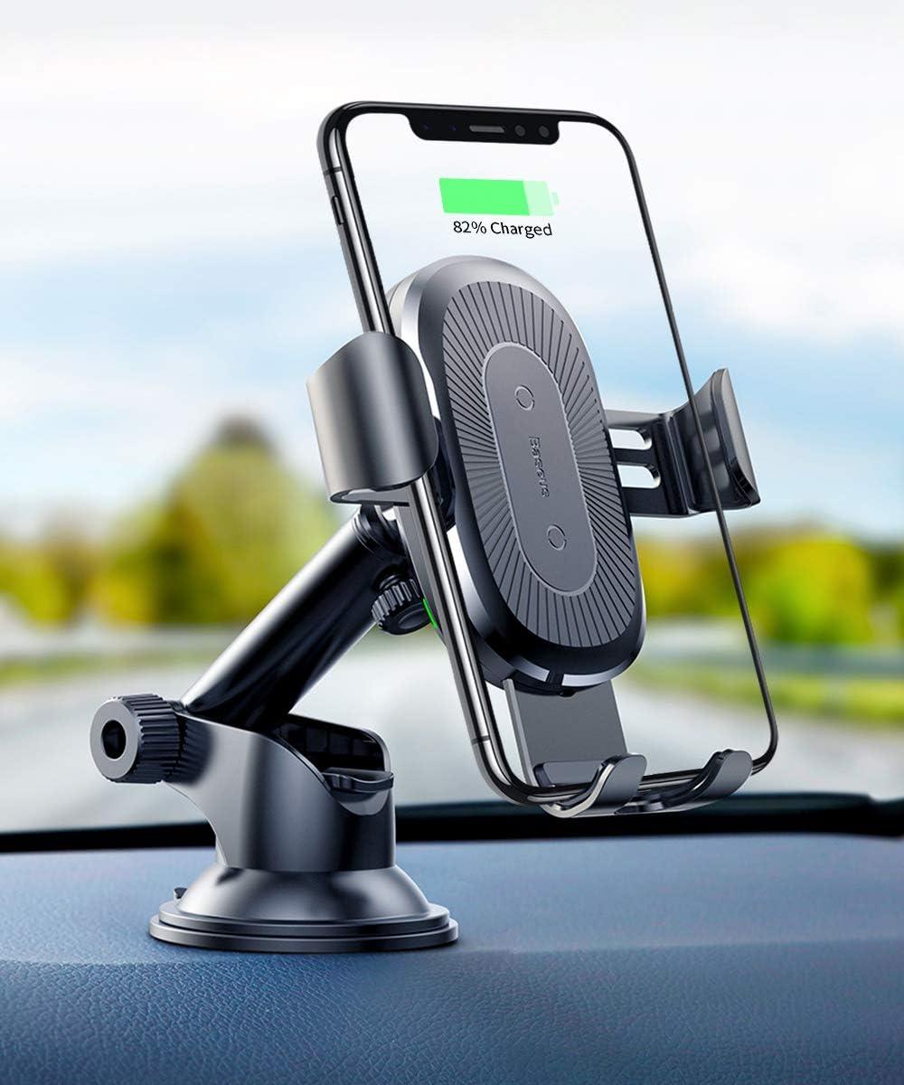 Baseus Cargador Inalámbrico Coche,QI Cargador Coche Carga Rápida con Rejillas del Aire, Carga para iPhone 11 Pro/X / 8/8 Plus, Samsung Galaxy S9 S8, Huawei Mate 20 Pro (Negro)