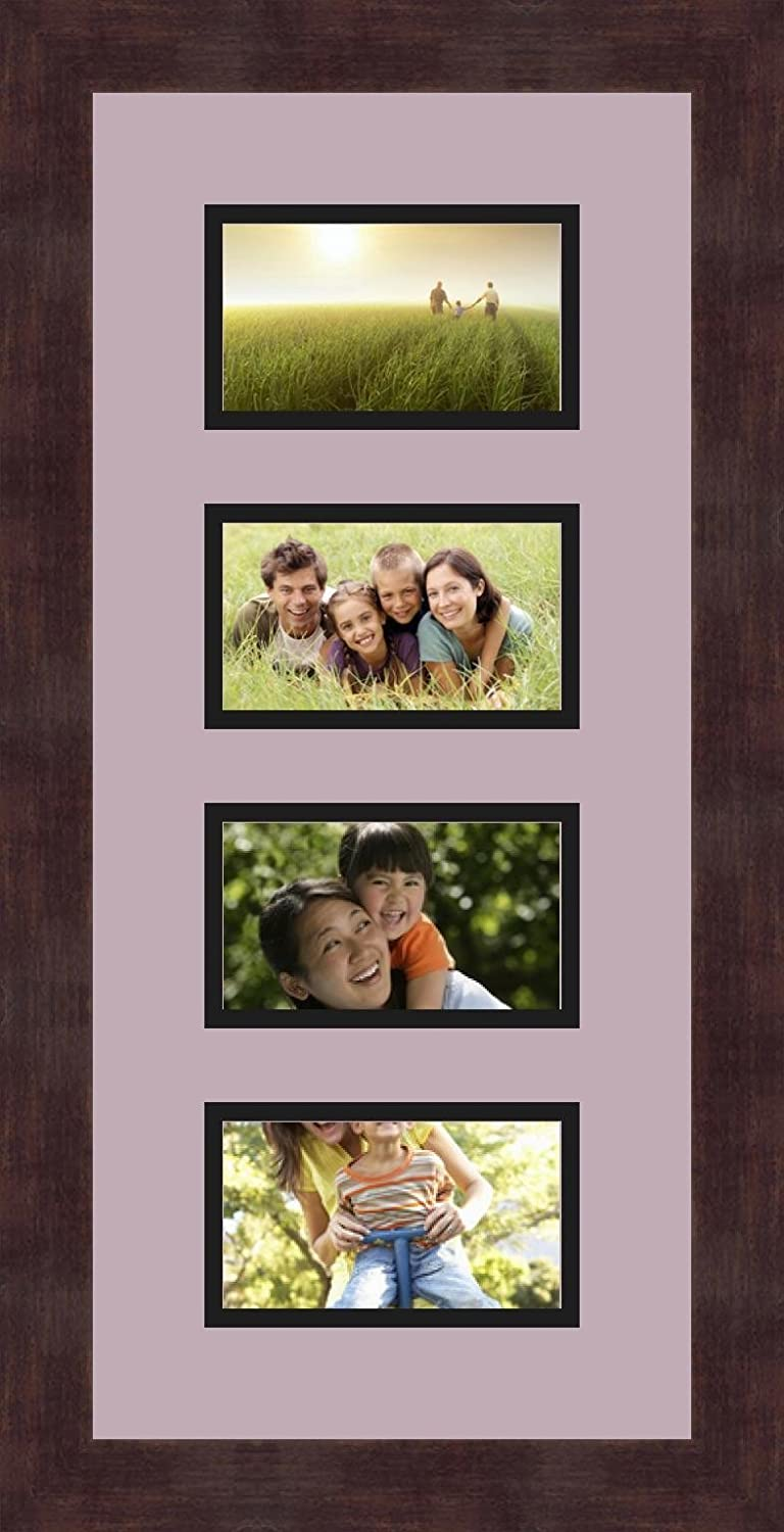 ArtToFrames 1.25-Inch Espresso Picture Frame with 4 Openings of 3 by 5-Inch and a Lavender Mist Top Mat and Black Bottom Mat Alphabet Frame
