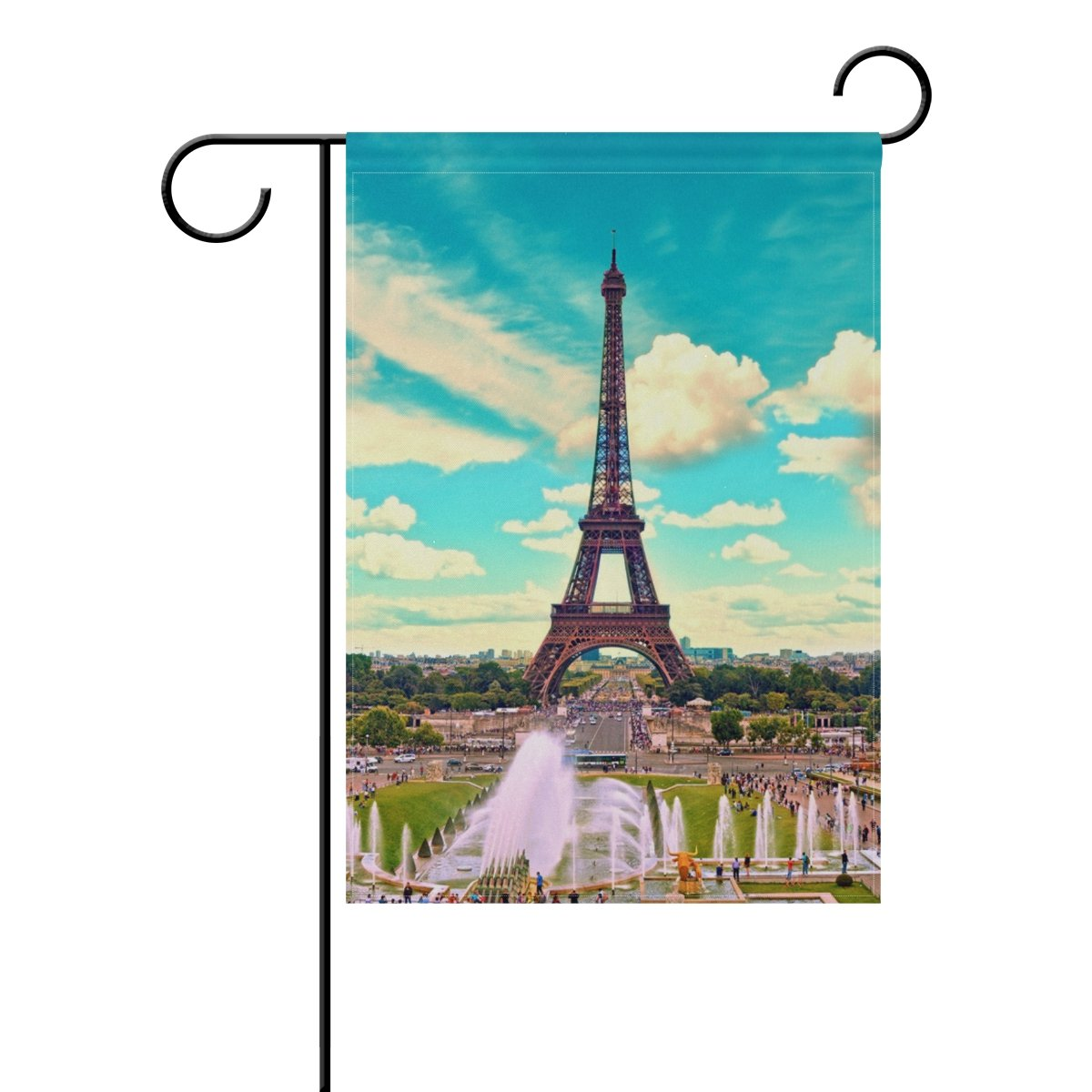 Blue Viper Paris Eiffel Tower And Fountain Garden Flag Banner 28 x 40 Inch Decorative Garden Flag for Outdoor Lawn and Garden Home Décor Double-Sided