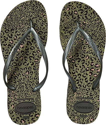 Havaianas Women's Slim Animals Flip Flop Sandals Olive Green 7/8