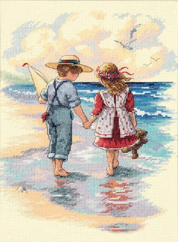 House Counted Cross Stitch - Dimensions 'Holding Hands' Counted Cross Stitch Kit, 14 Count ivory Aida, 9'' x 12''