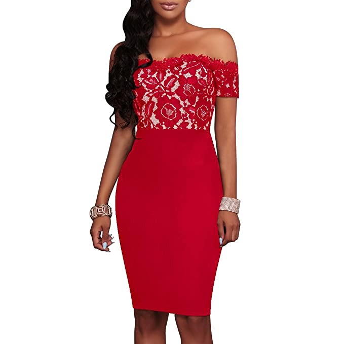 6794a0c374b Charmore Women s Lace Top Off The Shoulder Bodycon Party Cocktail Dress  (XL
