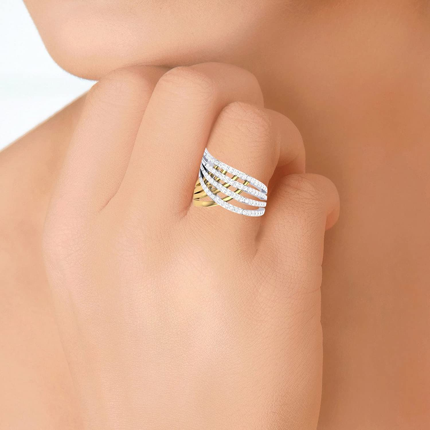 Buy Clara Silvo 18K Gold Plated Eva Sterling Silver Ring With ...