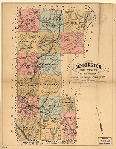 Bennington Vermont - Vintage 1880 Map of Bennington County, Vt. to accompany Child's Gazetteer and Directory. Bennington County, United States, Vermont