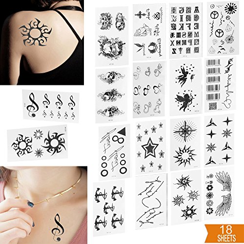 Body Art Sticker (SQDeal 18 Sheets Fashion Black Unisex Pattern Removable Premium Waterproof Temporary Tattoo Body Art Stickers Various Cool Symbols: Skull/Sun/Stars/Anchor/Angel/Cupid)
