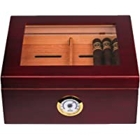 Mantello Glass-Top Cigar Humidor Humidifier Box with Hygrometer and Cedar Tray - Holds (25-50 Cigars)