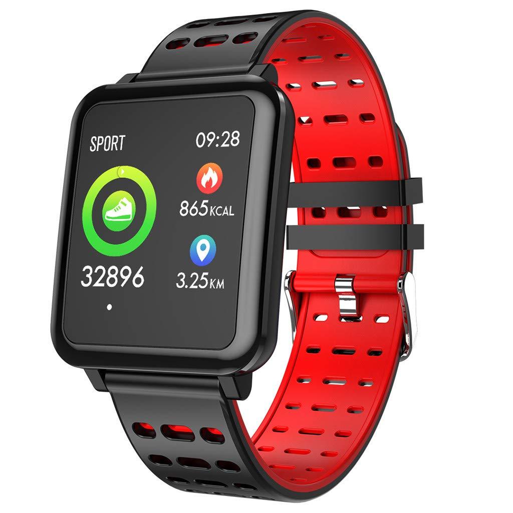 FEDULK Smart Watch Sports Fitness Workout Tracker Heart Rate Blood Pressure Monitoring Bluetooth 4.0 Smartwatch(Red) by FEDULK