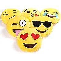 Charms Gift Basket CGB Plush Emoji Soft Round Wink Kiss Heart Love Pillows Cushion Smiley, 12x12-inch/ 30x30cm - Set of 4