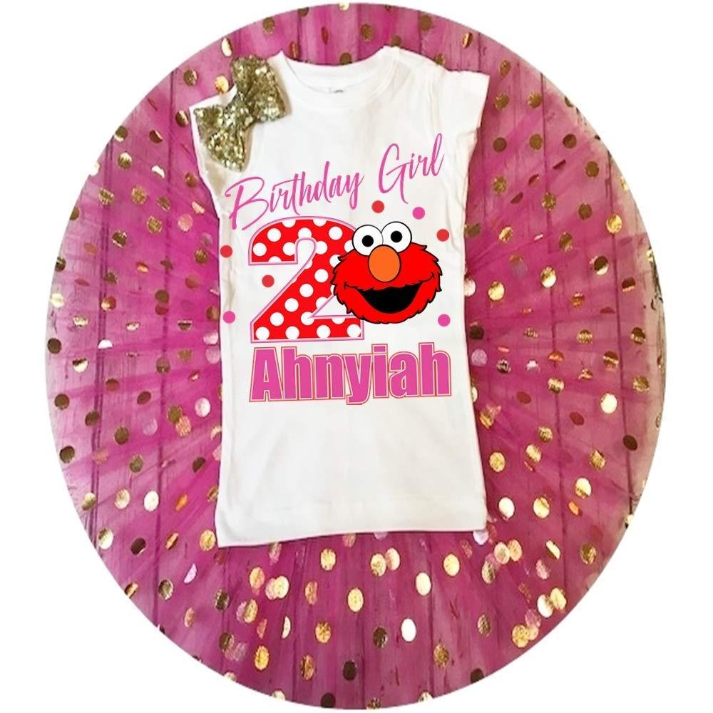 Elmo birthday shirt bow tutu outfit set