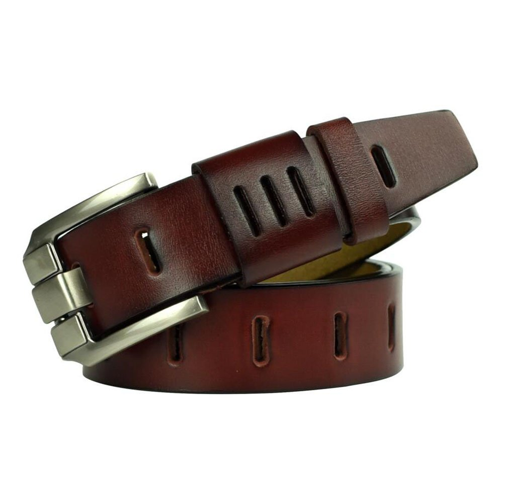 Men's trousers belt, super soft and comfortable pin buckle belt, leather leather casual business unique style (red, 125cm)