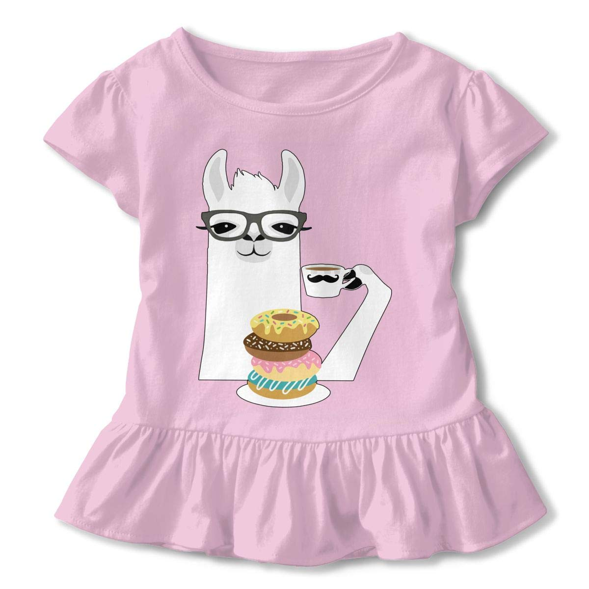 Cheng Jian Bo Llama Donut Toddler Girls T Shirt Kids Cotton Short Sleeve Ruffle Tee
