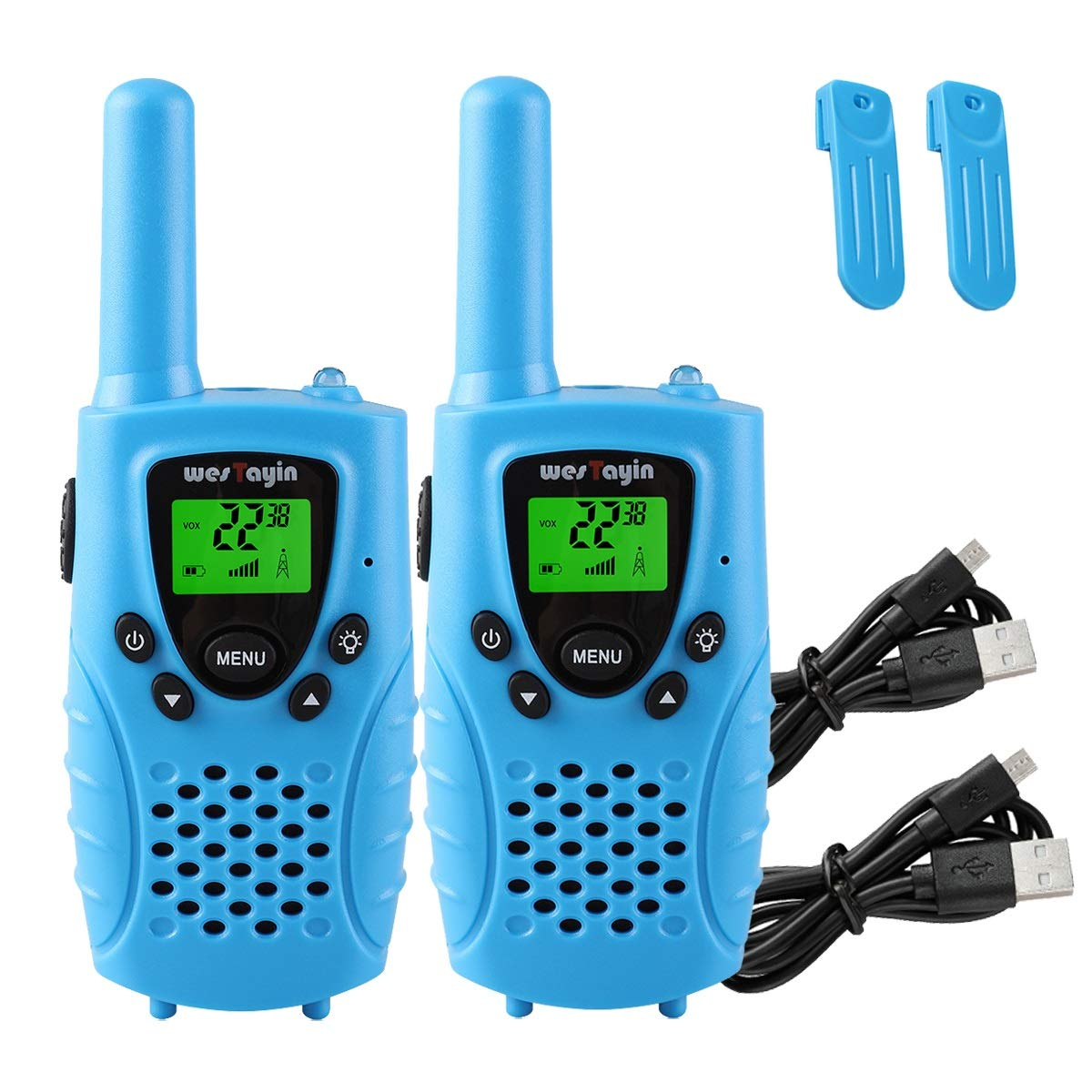 WES TAYIN Kids Walkie Talkies Rechargable, 4 Miles Long Range Walkie Talkies Toy with Durable Rugged Sports Design and Flashlight, Two Way Radios Toy 2 Pack, Batteries not Included(Blue)
