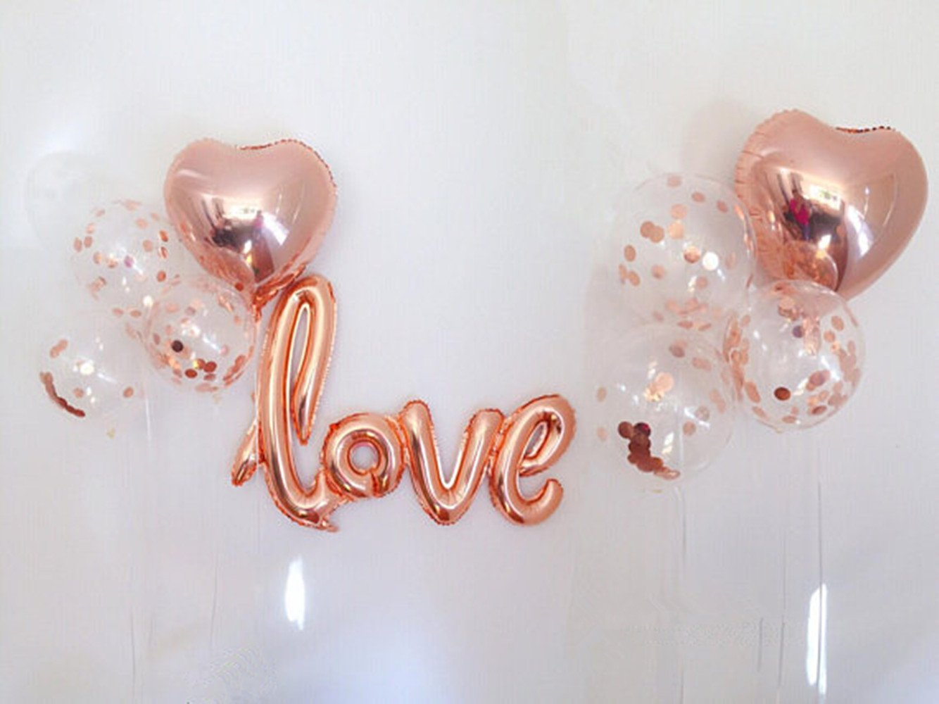 Autupy 9 PCS Rose Gold Confetti Balloon Set Including 12'' Confetti Balloons,18'' Foil Balloons,40'' Love Foil Balloons for Wedding Decoration Happy Birthday Balloons Party Supplies