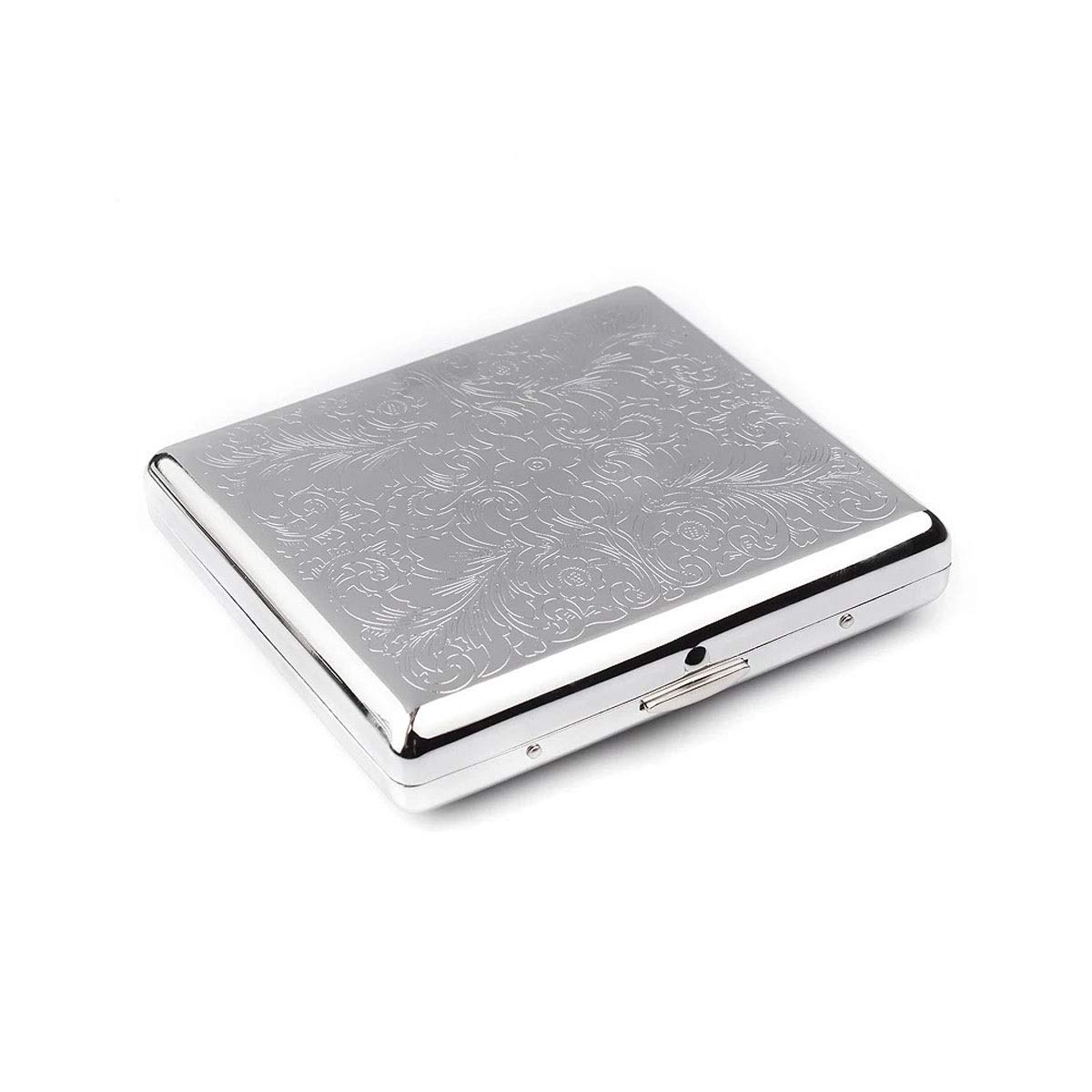 CHENTAOCS Cigarette Case, 20 Packs, Stainless Steel Personality Creative Automatic Metal Cigarette Case, Portable Men's Cigarette Case, Products (Color : Silver)