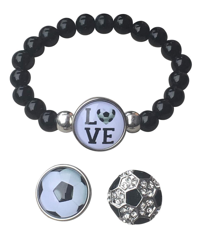 Soccer Interchangeable Snap Charm Bracelet Girls Beaded Soccer Jewelry for Soccer Players