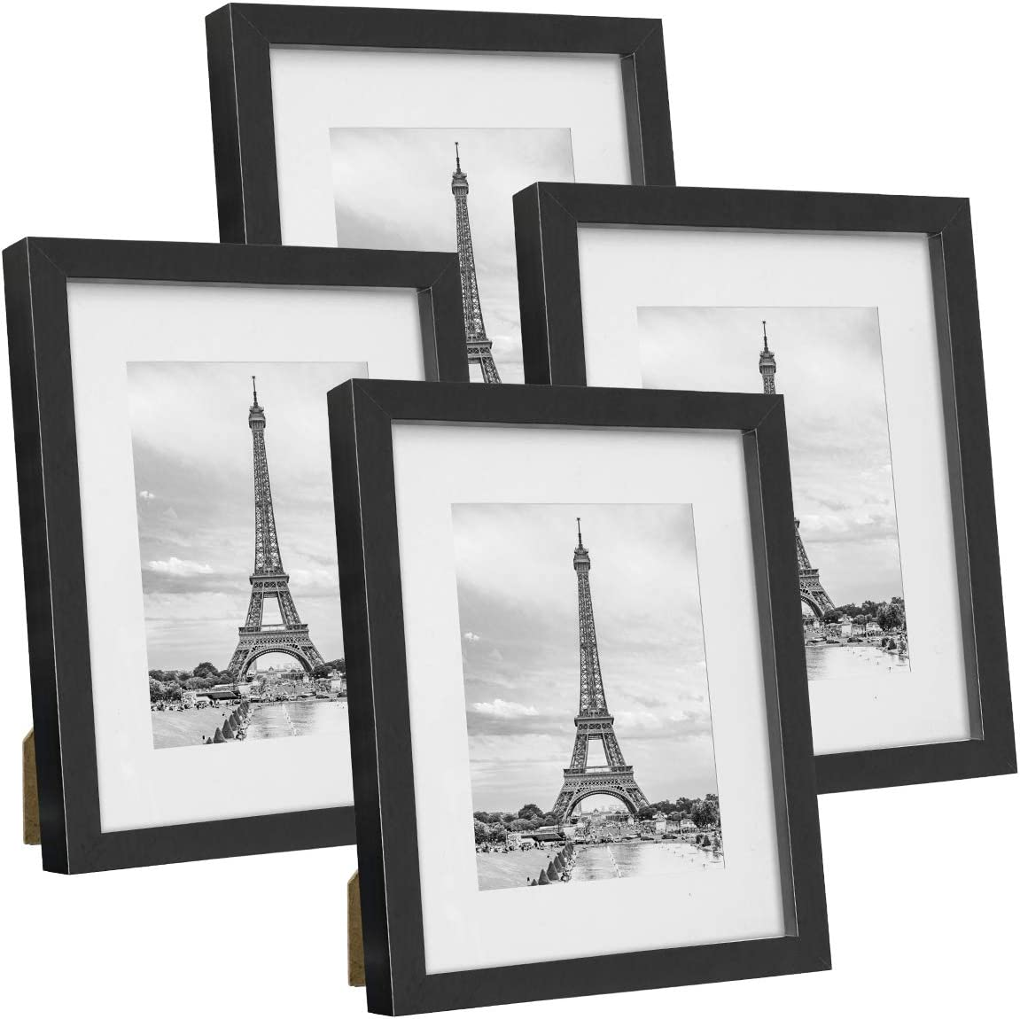 Q.Hou 8x10 Picture Frame Black Photo Frames Set of 4, Display Picture 5x7 with Mat or 8x10 Without Mat for Tabletop or Wall Mount (005US-QH-MD8X10-BK)