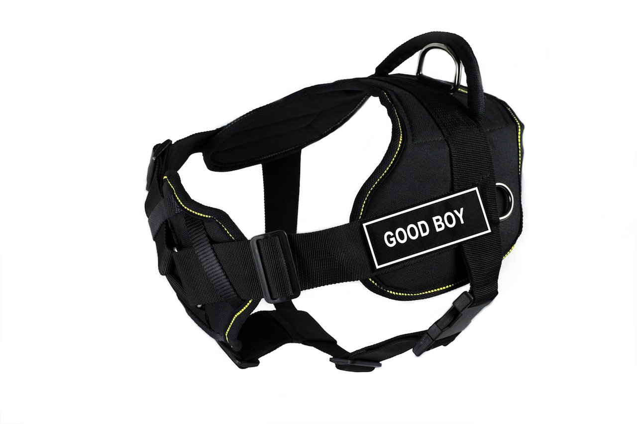 Dean & Tyler 28 to 34-Inch Good Boy Fun Harness with Padded Chest Piece, Medium, Black with Yellow Trim