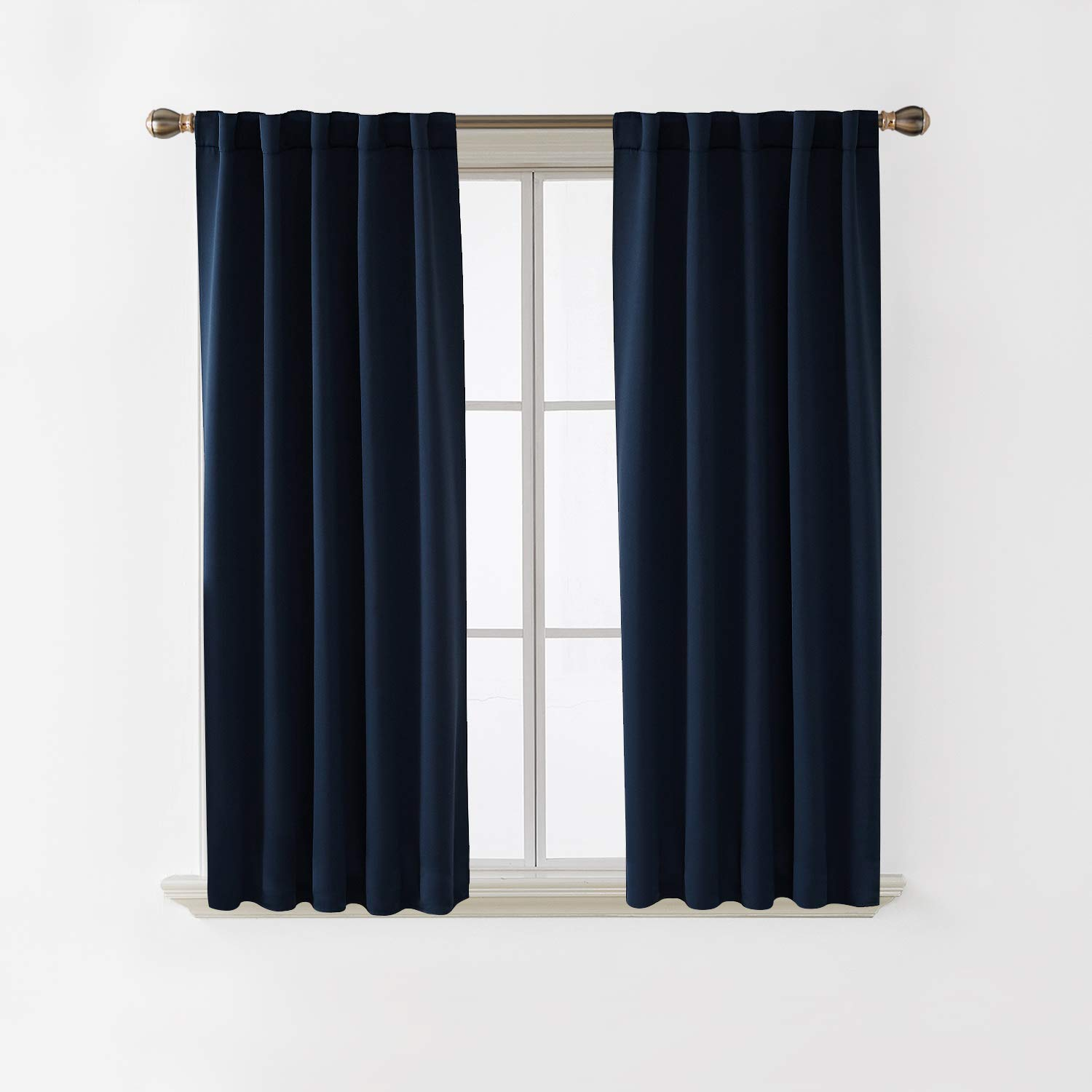 Deconovo Black Blackout Curtains for Kitchen Window Thermal Insulated Rod Pocket and Back Tab Curtains 42x45 Inch 2 Panels