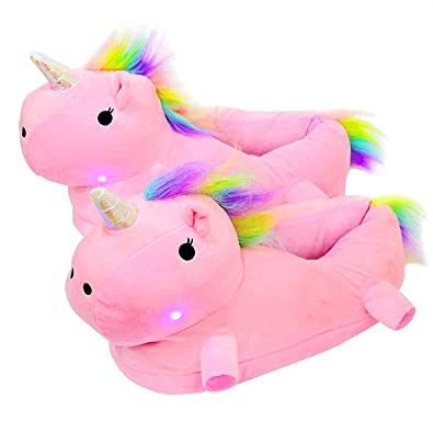 460b4247df0d0 Leisu Light up Adult Unicorn Slippers Novelty Comfortable Animal Home  Bedroom Plush Shoes Girls Ladies Womens Childrens -One Size