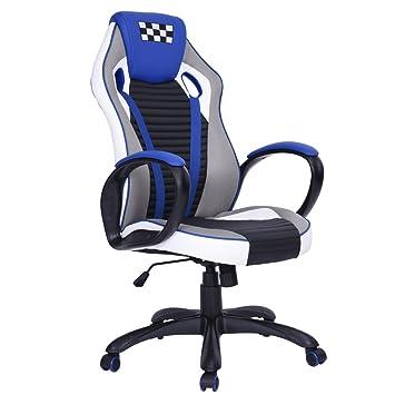 Silla de oficina y gaming Fanilife, de espalda alta, giratoria, de piel sintética, ajustable: Amazon.es: Hogar