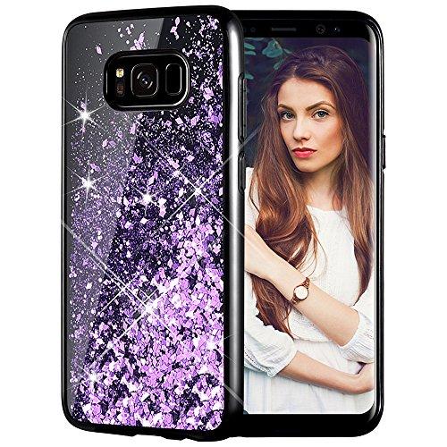 Caka Galaxy S8 Case, Galaxy S8 Glitter Case [Starry Night Series] Luxury Fashion Bling Flowing Liquid Floating Sparkle Glitter Girly Soft TPU Black Case for Samsung Galaxy S8 - (Purple)