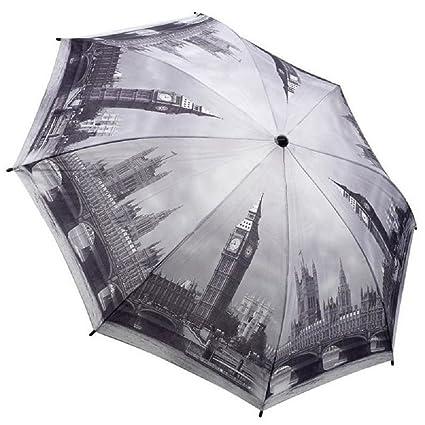 Galleria-Paraguas plegable para mujer, diseño de Londres en blanco y negro-Apertura