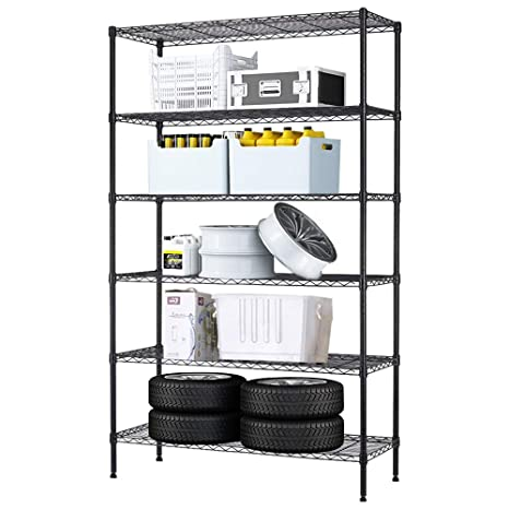 6 Tier Wire Shelving Unit Wire Shelves NSF Heavy Duty Height Adjustable  Storage Wire Shelf Shelving Rack with Feet Leveler Garage Rack Kitchen Rack  ...