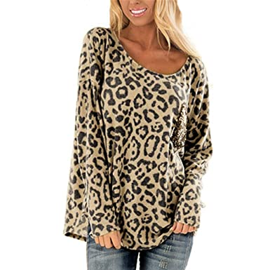4ba3a471c0bc Ninasill Women Large Size Leopard Print Round Neck Long Sleeve Loose Sexy  Blouses Fashion Leisure Tops T-Shirt at Amazon Women's Clothing store: