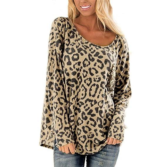 817f3ce90b9bd7 Yesmile Damen Blusen Frauen Leopard Oberteil Langarm T-Shirt Pulli Rundhals  Ausschnitt Hemd Sweatshirt Lose