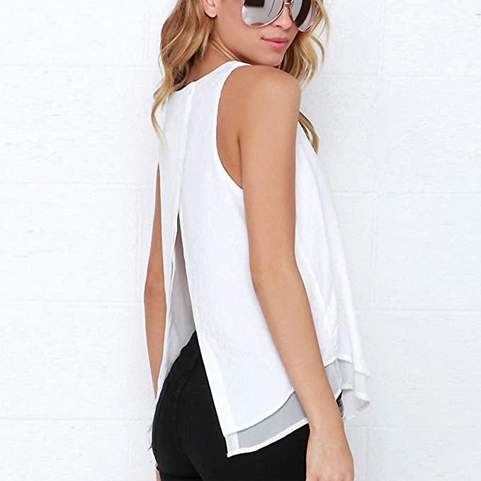 Individual Tee Shirt Femme NEW Summer Style Women Tops Sleeveless Double Layer Ropa Mujer Loose blusas White Blouse T107 at Amazon Womens Clothing store: