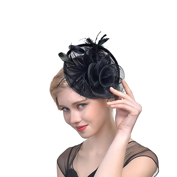 FeiYu Crafts Feather Mesh Net Sinamay Fascinator Hat with Clip and Headband  for Cocktail (Black 254f5195849
